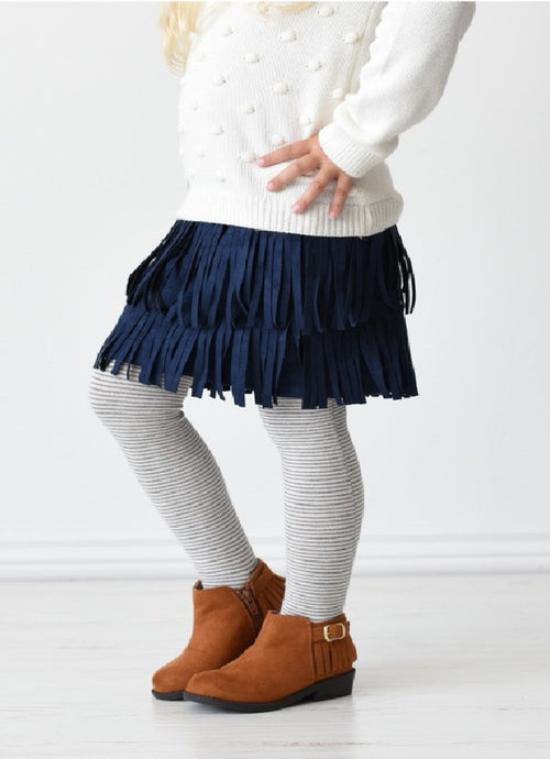 Girls Fringe Suede Skirt