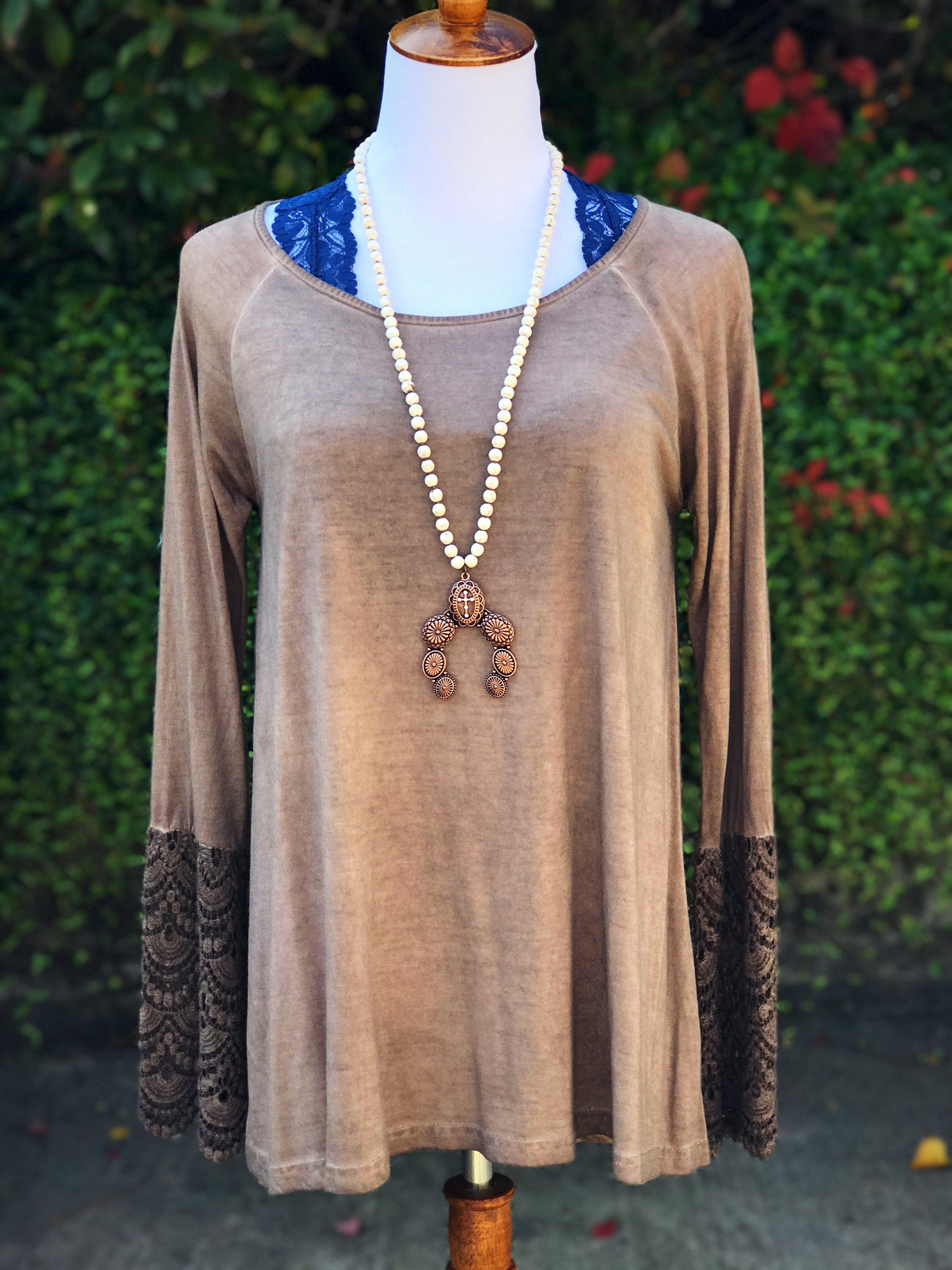 Mineral Washed Crochet Sleeve Top
