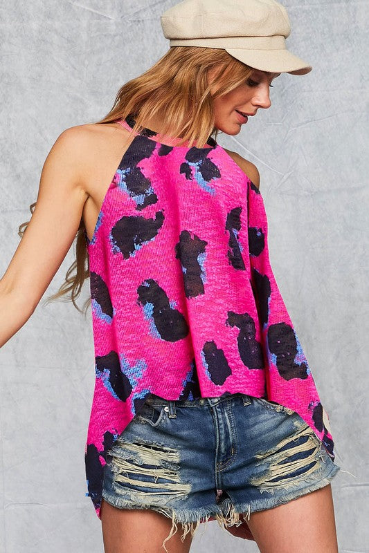 Leopard Knit Jewel Tank