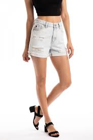 Super Light Wash Cuffed High Rise Kancan Shorts