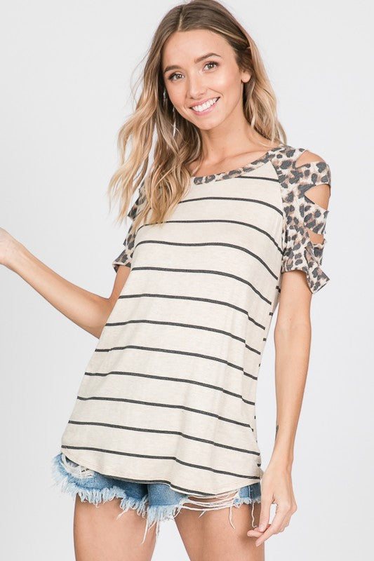 Striped/Leopard Distressed Raglan