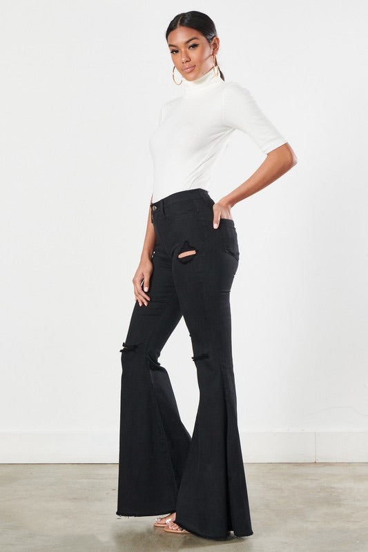 Vibrant M.I.U BLACK Bell Bottoms w/ Holes