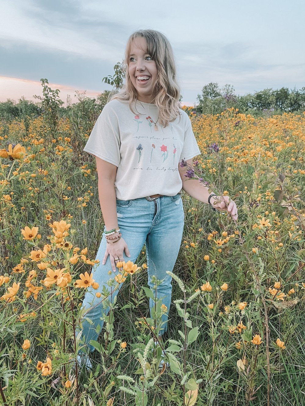 Wildflower Colorful Hand-Drawn Tee