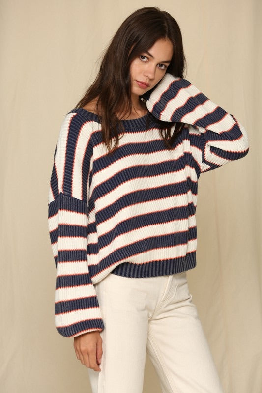 Vintage Wash Striped Sweater
