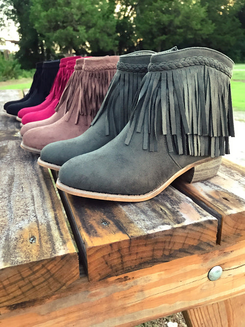 Way Out West Fringe Booties