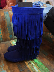Tall Royal Blue Fringe Boot