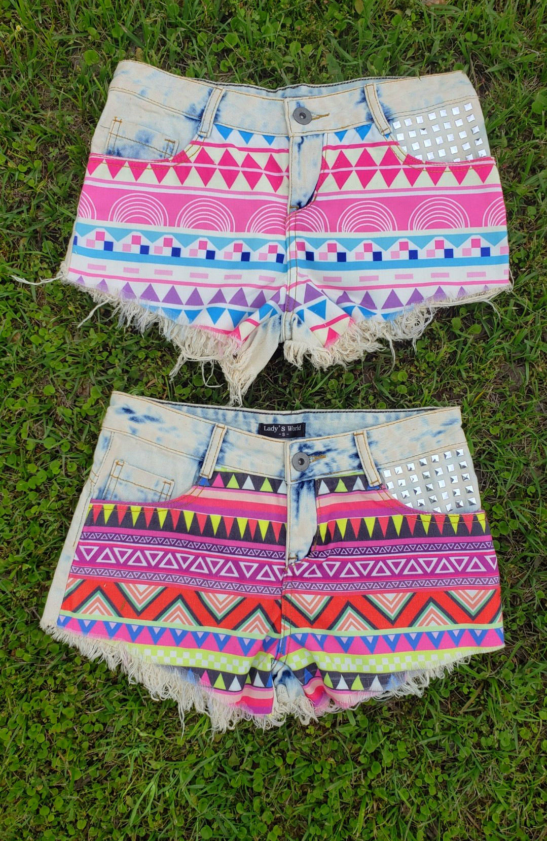Tribal Patch Jean Shorts