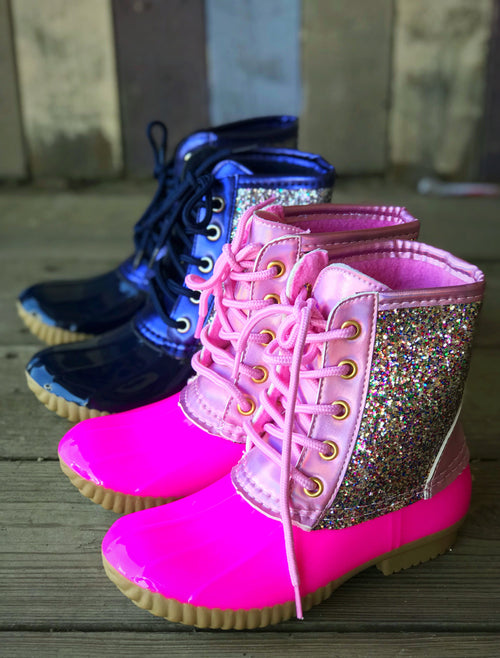 Youth Kids Glitter Duck Boots