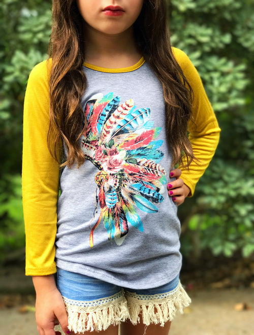 Girls Feather Headdress Raglan