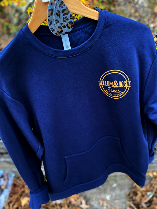 Navy & Tan Crew Sweatshirt w/ Front Pocket
