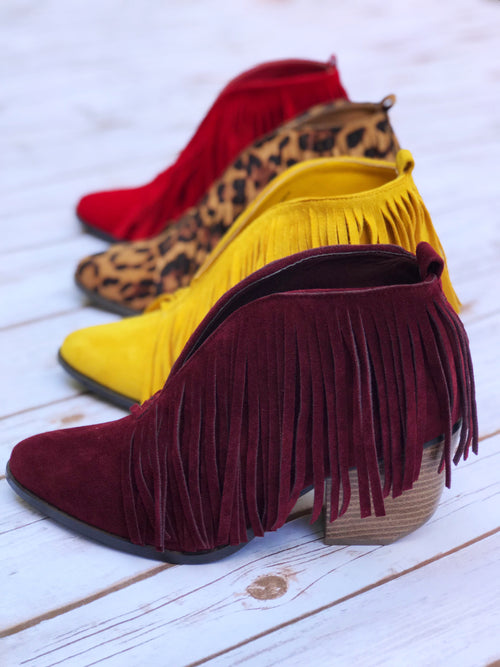 Colored Carrie Fringe Bootie