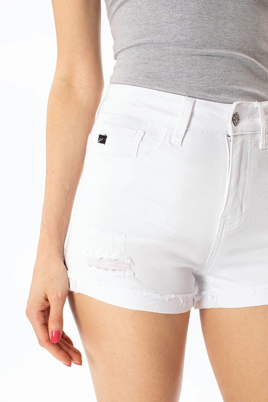 White Cuffed Kancan Shorts