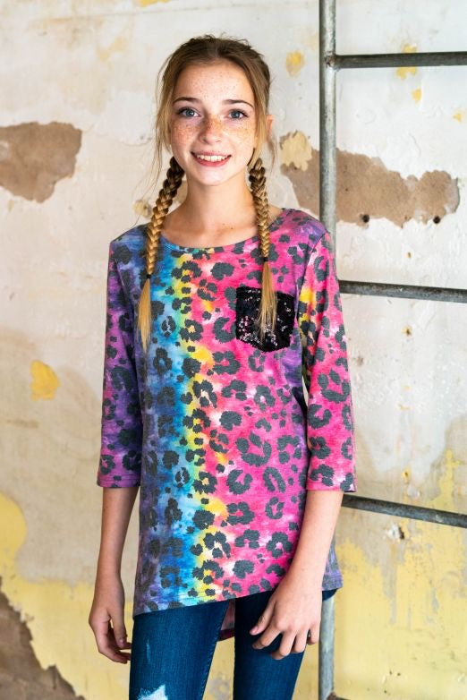 Kid Sequin Pocket Top