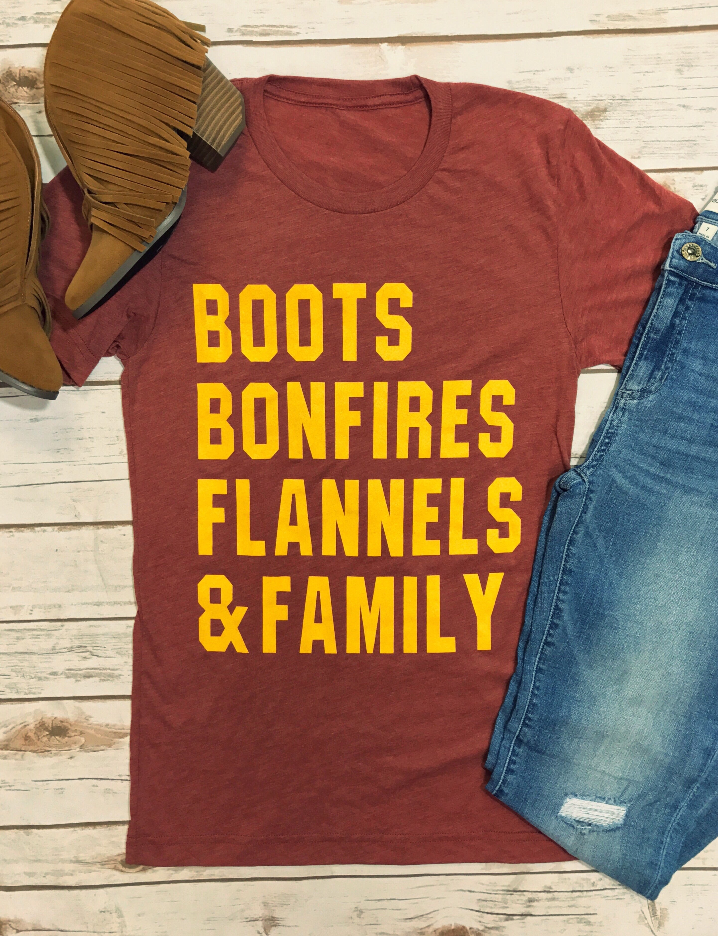 Boots, Bonfires, Flannels & Family Tee