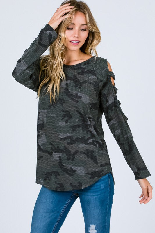 Camo Ladder Shoulder Top