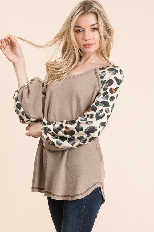 Taupe & Watercolor Leopard Long Sleeve Top