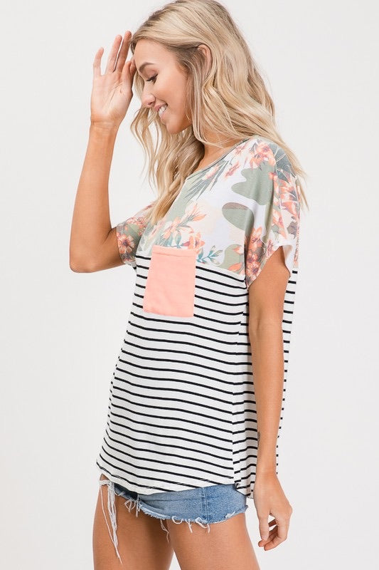 Lovely Melody Tropical Stripe Top