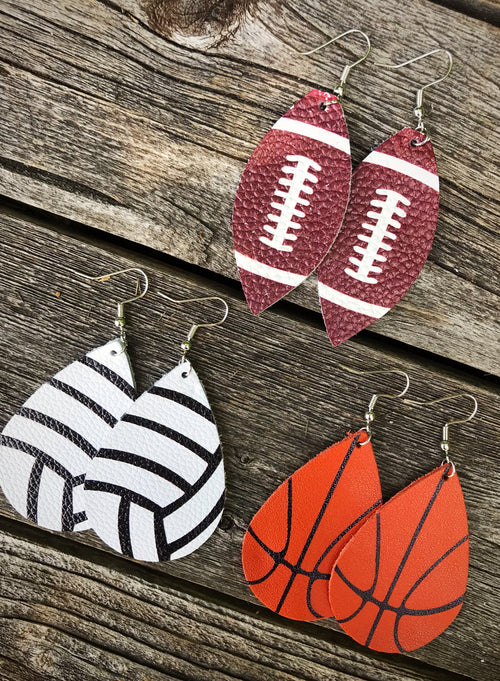 Fall Leather Team Earrings