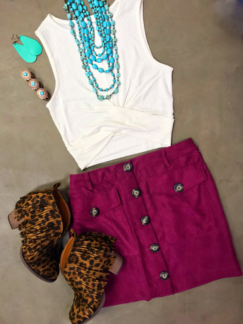 Twill Magenta Button Skirt