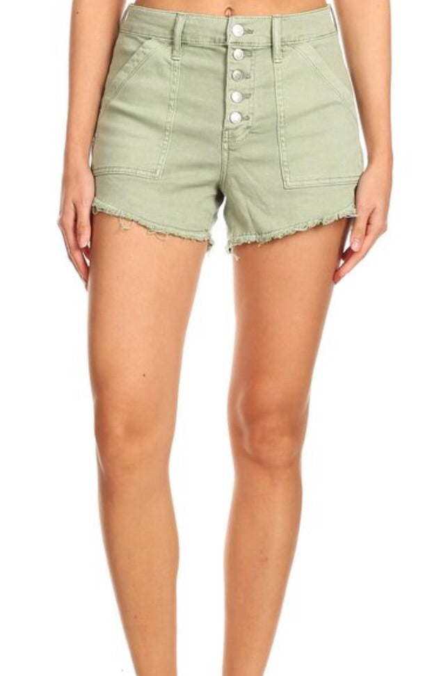 Sage High Rise Celebrity Pink Button Down Shorts