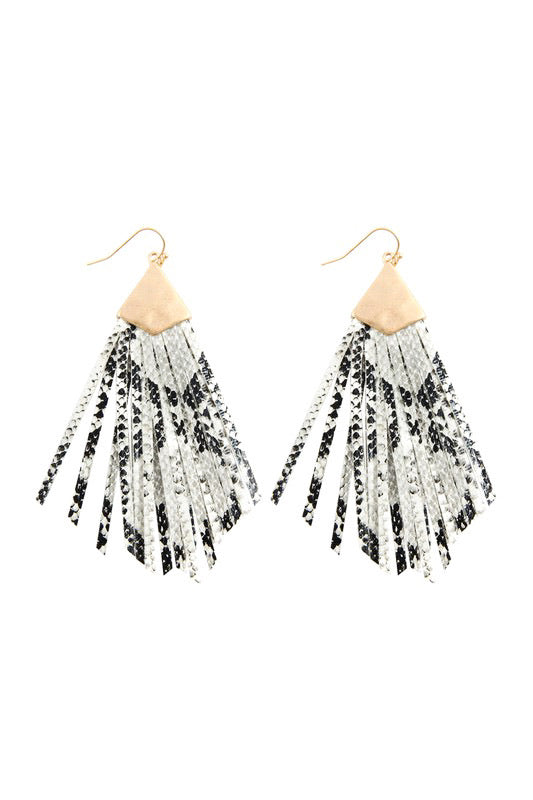 Stamped Metal & Fringe Tassel Earrings