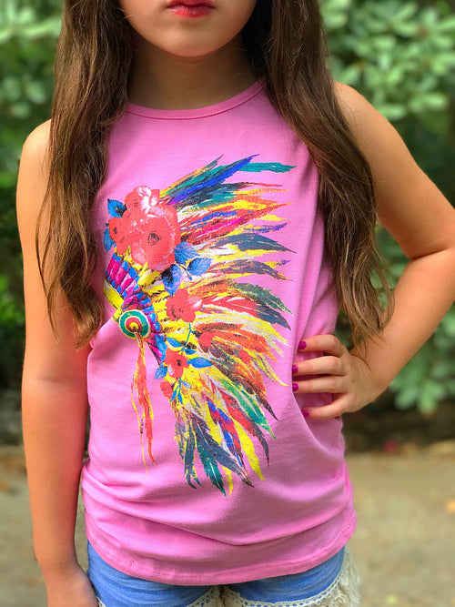 Girls Feather Headdress Tank