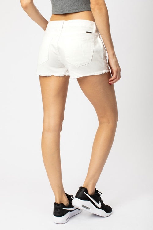 White Distressed Kancan Shorts