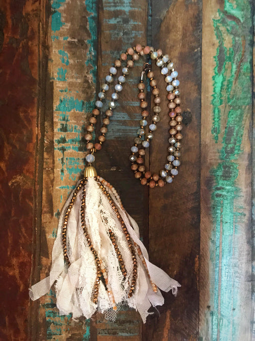 Ivory & Lace Bronze Tassel Necklace