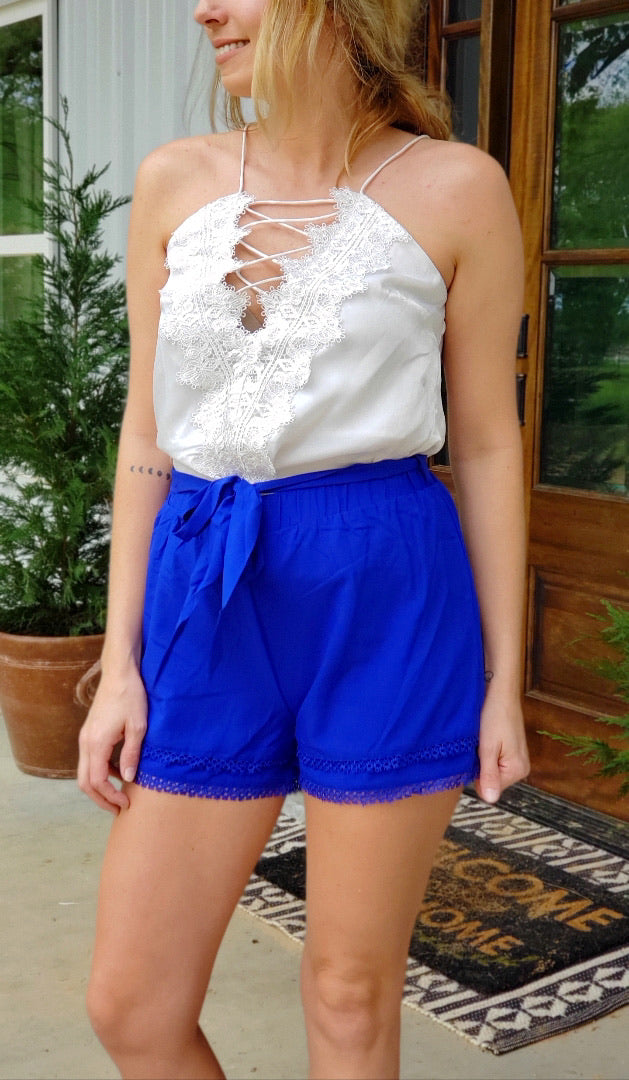Lace Trim Bow Shorts