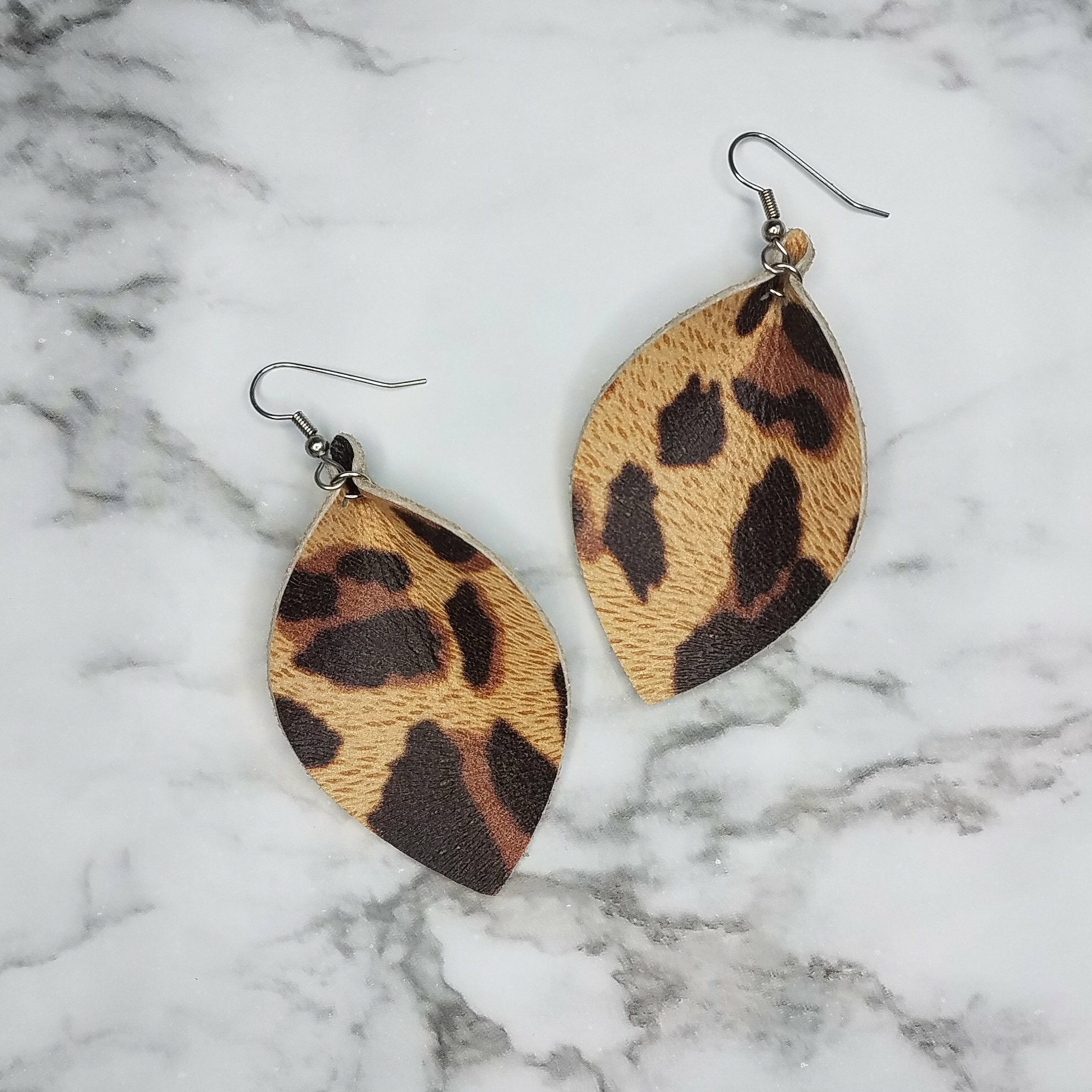 New Leather Leaf Earring