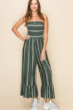 Olive Striped Strapless Jumpsuit