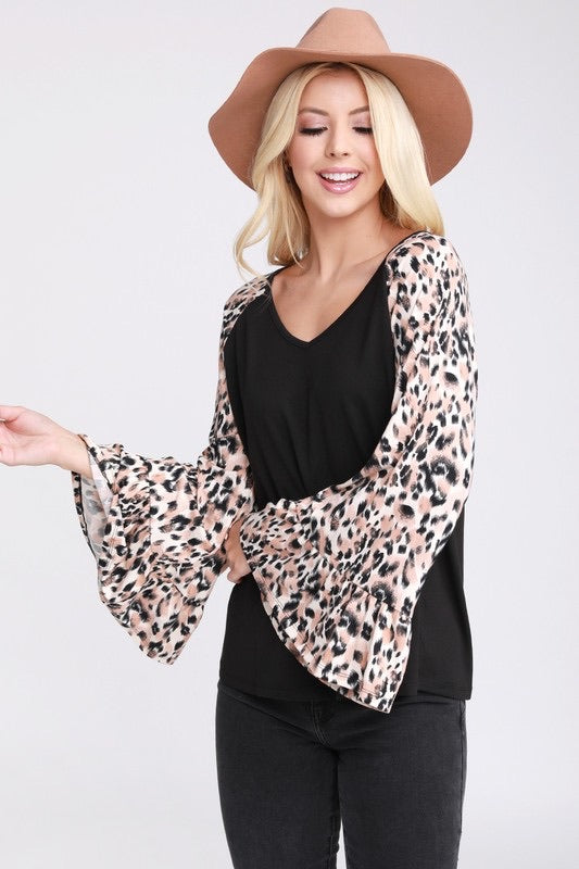 Leopard Bell Sleeve Top
