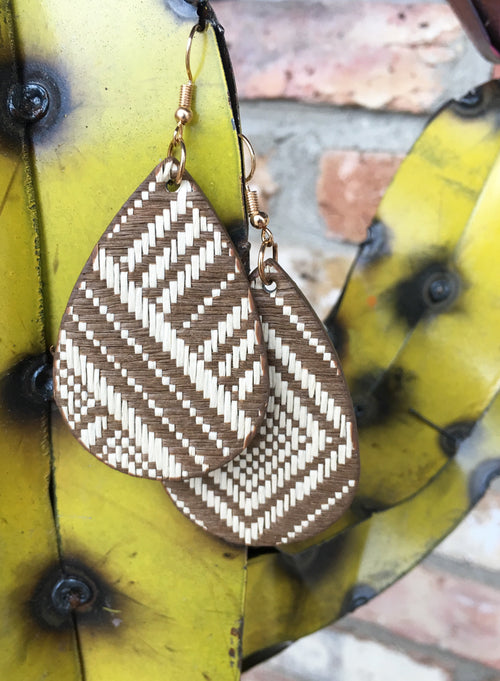 Brown & Ivory Woven Earring
