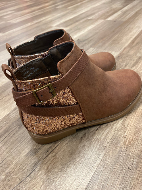 Tan Glitter Girls Bootie