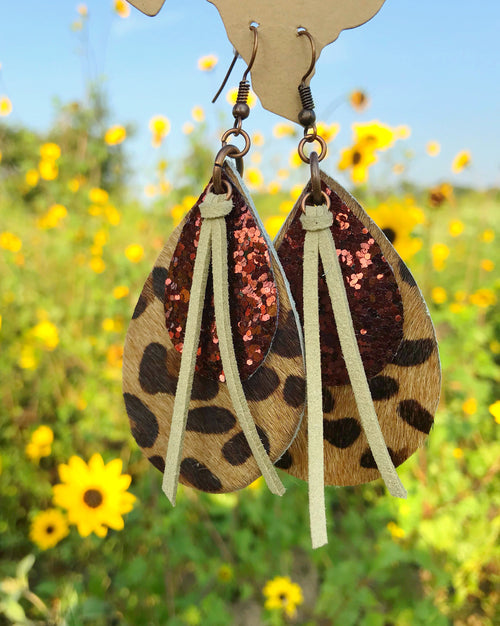 Leather Leopard Layered Earring