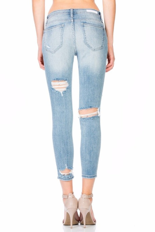 Cello Light-Wash Cropped Skinny Jeans