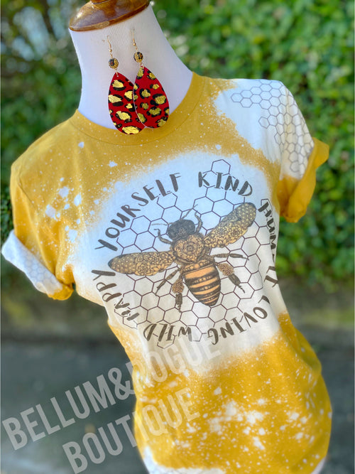 Humble Honey Bee Leopard Distressed Tee