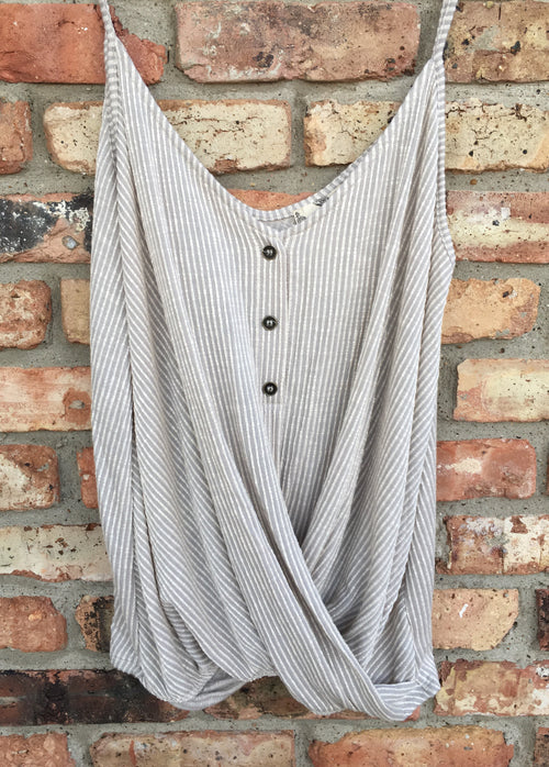 Wrap Front Striped Tank