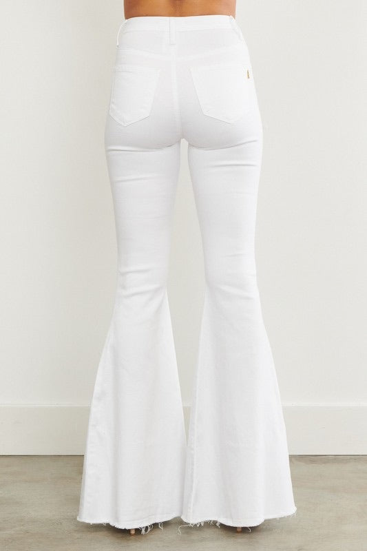 Vibrant M.I.U WHITE Denim Bell Bottoms w/Holes