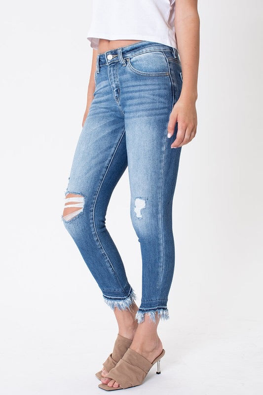 Kancan Frayed Ankle Jeans