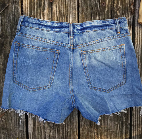 Signature Eight Distressed Denim Shorts