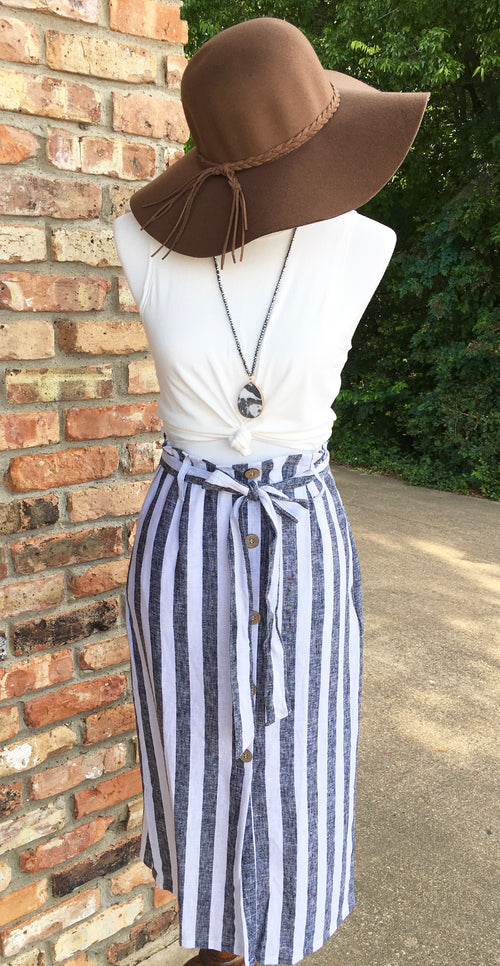 Linen Button Down Midi Skirt with Pockets