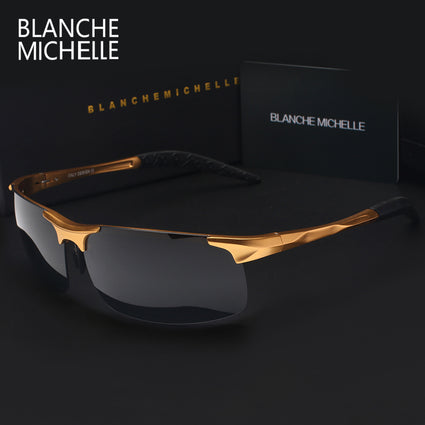 High Quality Ultra-light Aluminum Magnesium Sports Sunglasses Polarized Men Rectangle Gold Outdoor Drive Sun Glasses