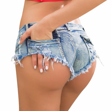 Micro Short Jeans Feminine Mini Short Sexy Denim Shorts Female With Low Waist Summer Thong Jeans for Women Girls Blue