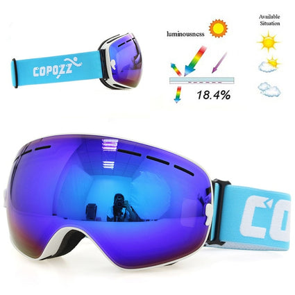 COPOZZ Brand Ski Goggles Double Layers UV 400 Anti-Fog Big Ski Mask Glasses Skiing Men Women Snow Board Goggles GOG-201 Pro