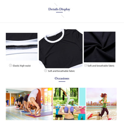 Women Tracksuit Yoga Set Patchwork Running Fitness Jogging T-Shirt Leggings Sport Suit Gym Sportswear Workout Clothing
