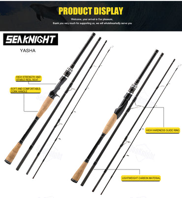 Fishing Rod 2.1.M 2.4.M 2.7.M 3.0.M 4 Section M Power Carbon Fiber Spinning/Casting Travel Rod 10-30g Fishing Tackle