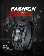 Fashion Creative Sport Watch Men Stainless Steel Strap LED Display Watches 5 Bar Waterproof Digital Watch