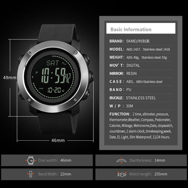 Altimeter Barometer Thermometer Altitude Men Digital Watches Sports Clock Climbing Hiking Wristwatch Montre Homme 1418