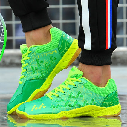 Hot Sale Tennis Shoes Men Women Lace Up Badminton Shoes Leather Couples Rubber Leather Tennis Table Sneakers